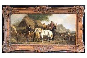 Thumb stephen holmes the victorian farmer horses farm workers traditional oil painting c 1930 s 0