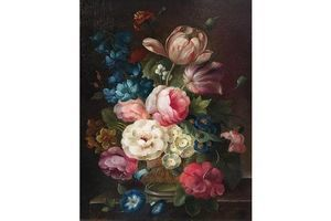 Thumb l seeyer multi coloured floral bouquet still life signed oil painting c 1980s 0