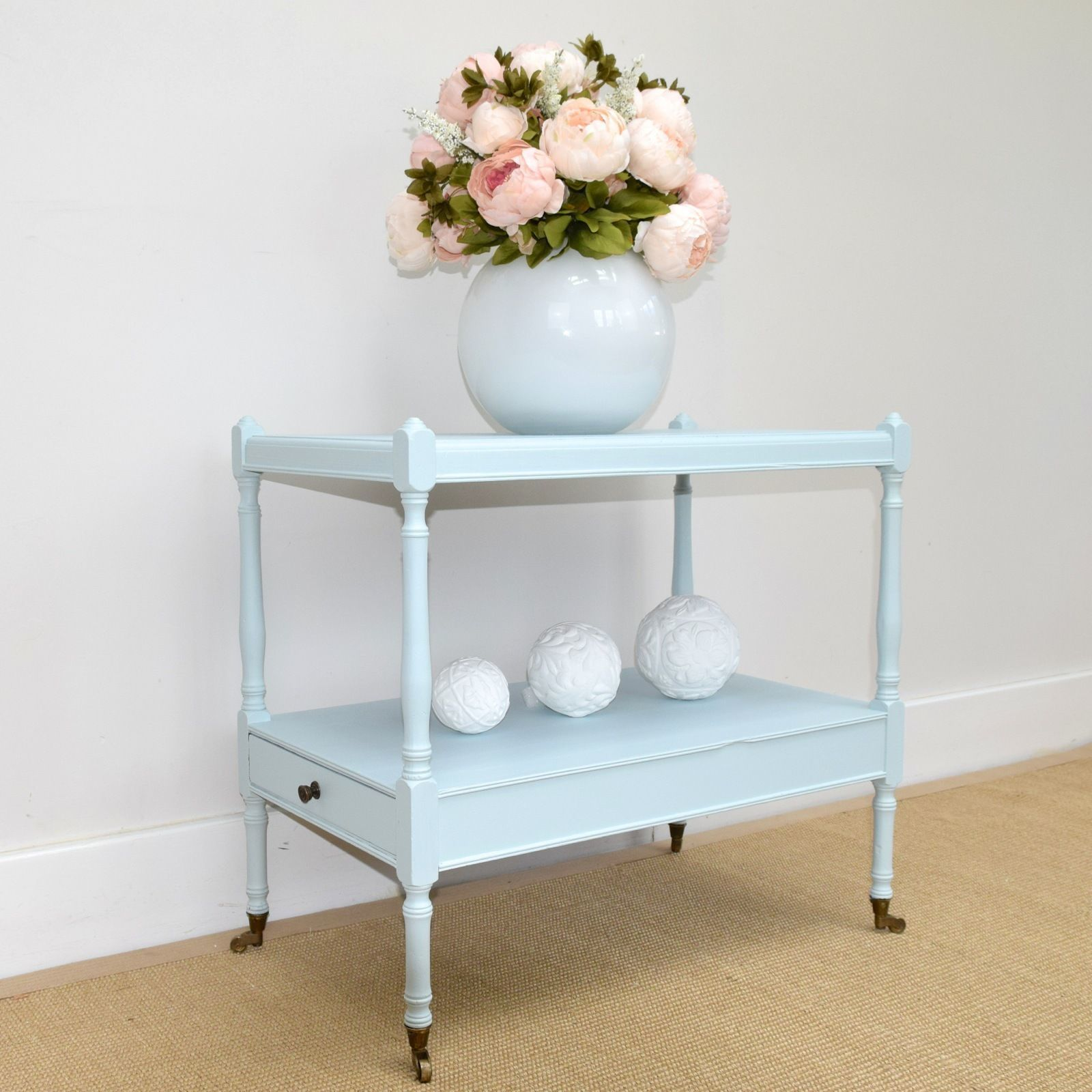 Vintage Tea Trolley, Bedside Table, Stand, Painted In