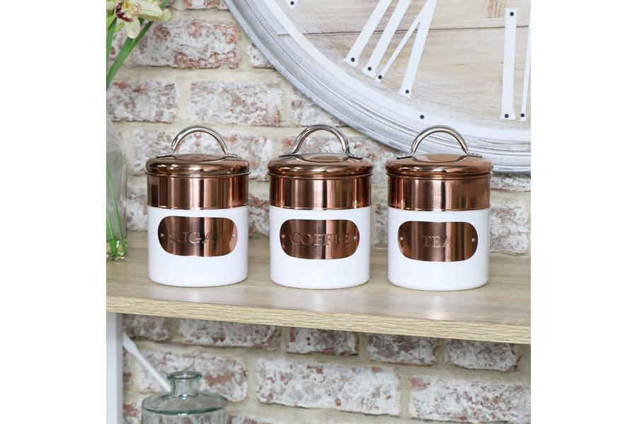 Copper White Tea Coffee Sugar Canisters