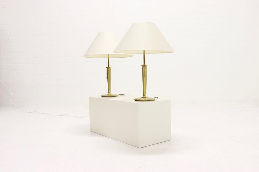 Set Of 2 Heavy Brass Table Lamps Bm Leuchten 1980s
