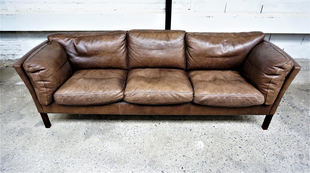 Scandinavian Leather Sofa Brown | Vinterior