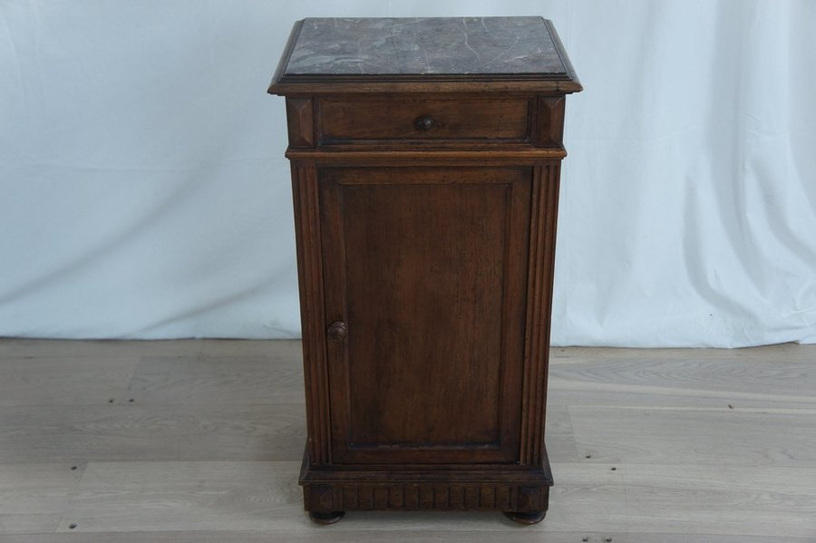 Vintage Marble And Wood Bedside Cabinet