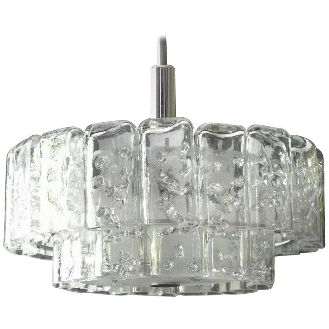 Large Mid Century Modern Modernist Doria Crystal Glass Chandelier