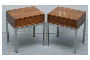Thumb stunning pair of chromed base teak single drawer contemporary side lamp tables 0