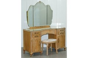 Thumb circa 1920 s walnut kidney dressing table stool set with tri folding mirror 0