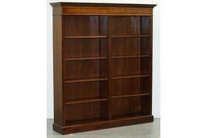 Thumb lovely walnut mahogany marquetry inlaid double bank bookcase adjustable shelf 0