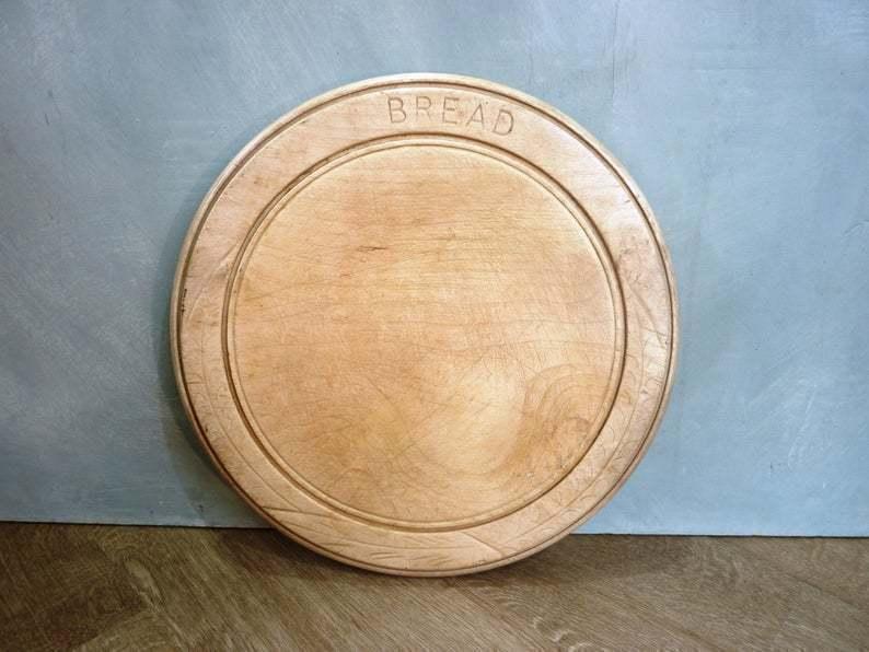 Vintage Wooden Bread Board Carved Beech Round Bread Board Kitchenalia