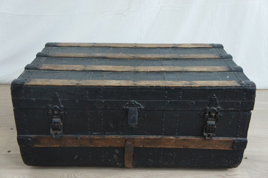 Black, Wood, Metal And Leather Travel Trunk photo 1