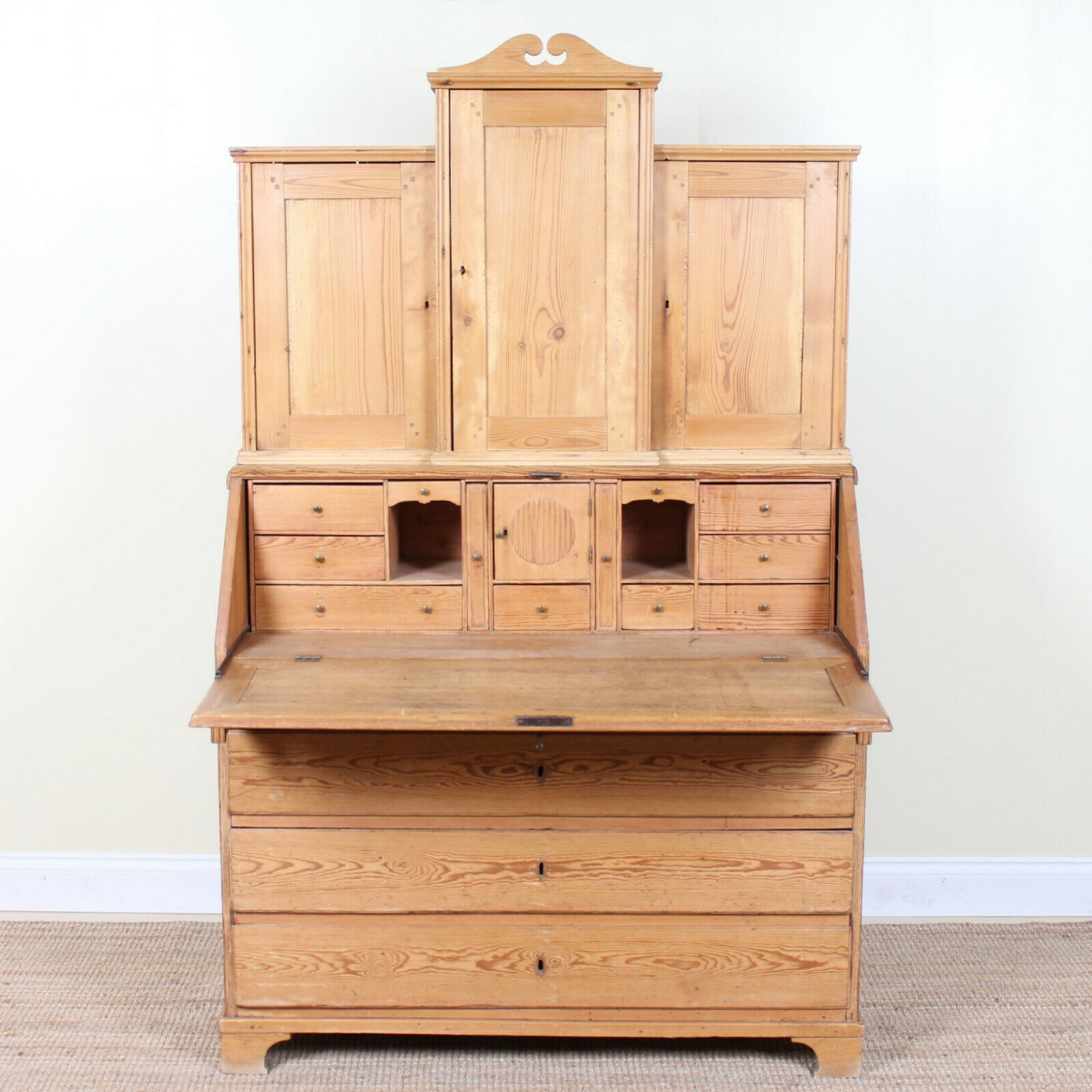 Antique Swedish Gustavian Secretaire Pitch Pine Bureau Bookcase Library Desk