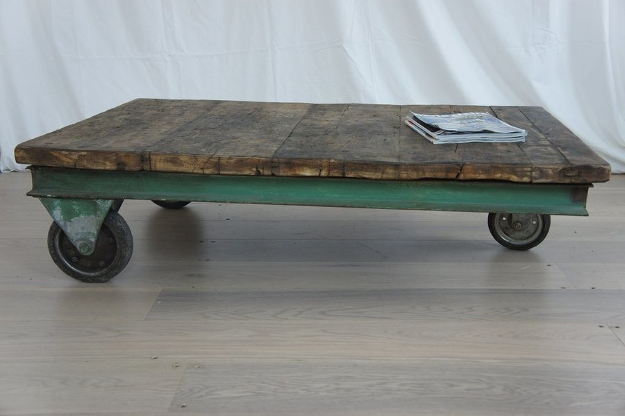 Large Industrial Trolley Coffee Table photo 1