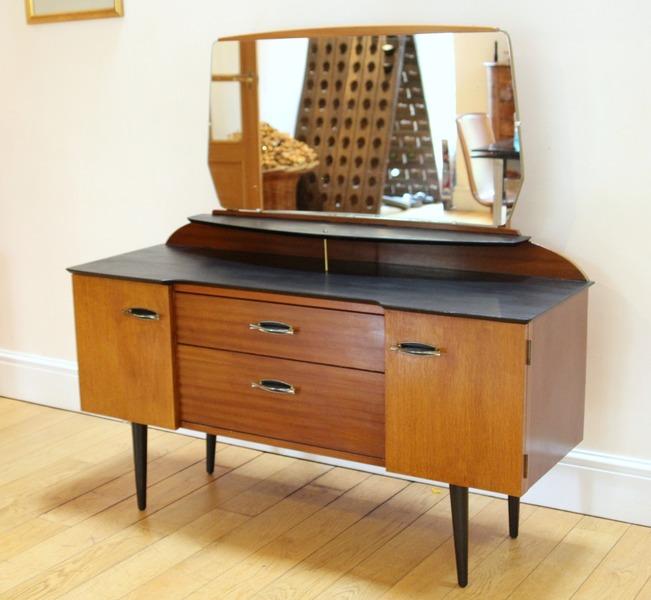 wholesale dealer 92a56 721b3 Mid Century Lebus Dressing Table Refinished In Black & Teak