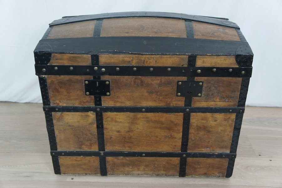 Large Metal Leather Wood Domed Travel Trunk photo 1