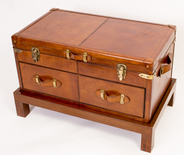 English Leather Campaign Trunk Coffee Table Luggage photo 1