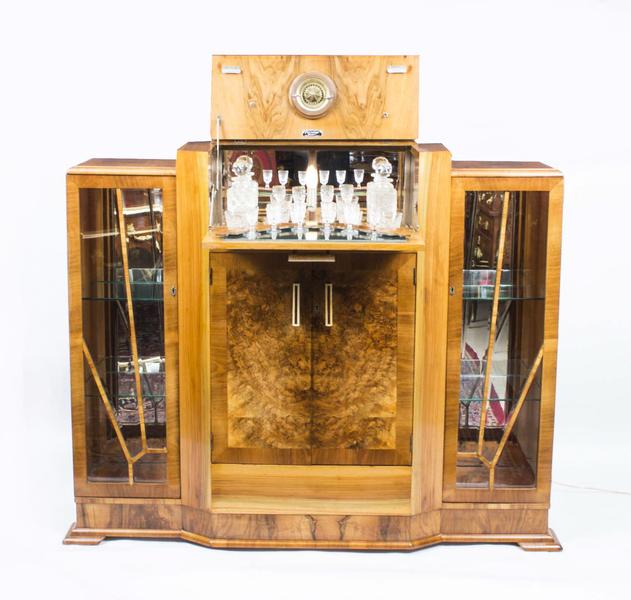 Antique Art Deco Burr Walnut Cocktail Cabinet