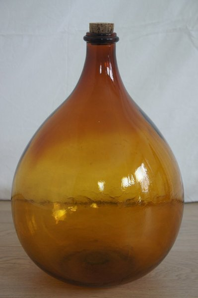 Amber Glass Bottle With Cork photo 1
