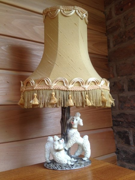 Kitsch Poodles Lamp Base And Vintage Lamp Shade 1950s photo 1