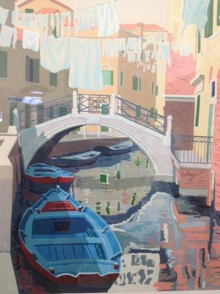 """Framed """"Monday In Venice"""" Limited Edition (65/125) Vintage Print By M Wood"""