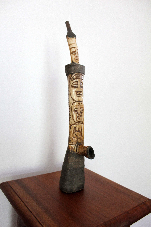 Tall Vintage African Scrimshaw Pipe Bone Pipe Hand Carved Bone Scrimshaw Totem Shaped Tribal Art Primitive Carving 42 Cm 16 5 Inch Vinterior