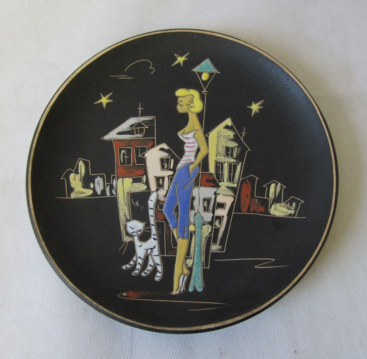Vintage 1950s Iconic Hans Welling Black Ruscha Paris Wall Plate W German  Pottery