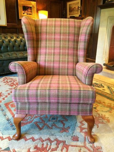 Antique Style S Rouse & Co Mahogany Wingback Armchair Pink