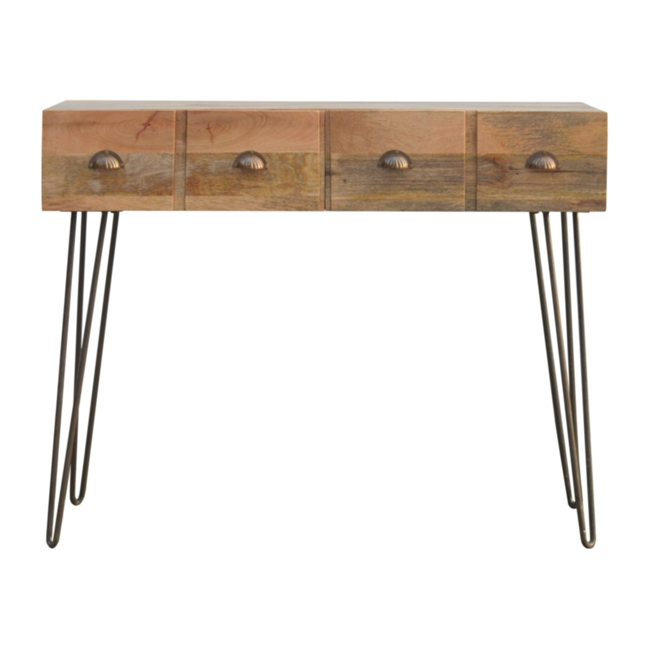 cheaper aa068 aa818 Solid Wood 4 Drawers Console Table With Hairpin Iron Legs
