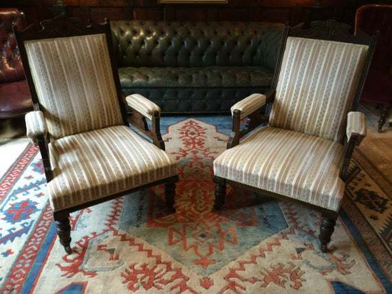 Pair Antique Edwardian Mahogany Armchairs
