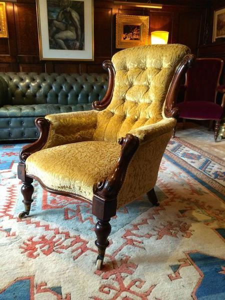 Antique Victorian Mahogany Button Back Gold Armchair 19th Century Gold