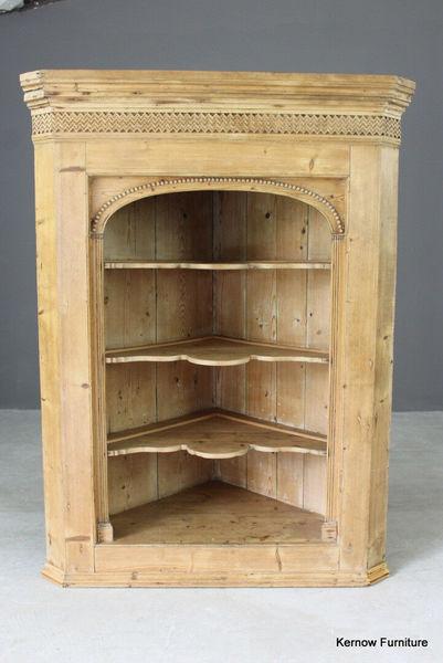 Antique Pine Hanging Corner Wall Bathroom Kitchen Dining Cupboard Cabinet