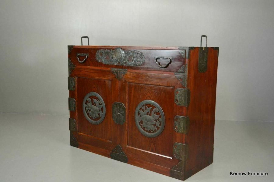 Antique Korean Camphor Wood Cabinet Sideboard Cupboard