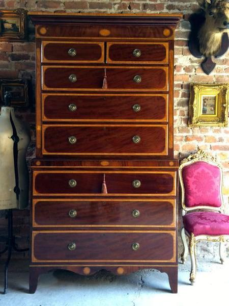 Antique Satinwood Tallboy Chest Of Drawers 18th Century