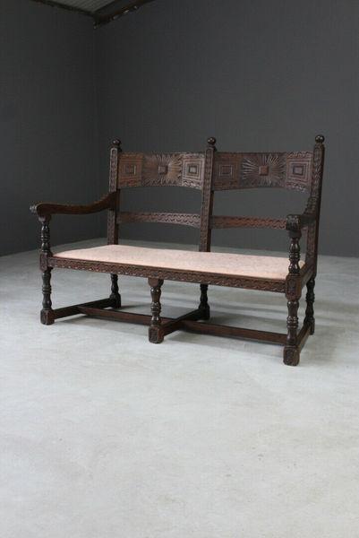 Marvelous Antique Victorian Rustic Carved Oak Bench Hall Seat Lamtechconsult Wood Chair Design Ideas Lamtechconsultcom