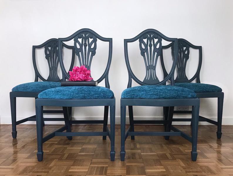 Set Of 4 Sheraton Revival Style Dining Chairs In Navy, Shield Back Kitchen Chairs Reupholstered With Teal Chenille Fabric