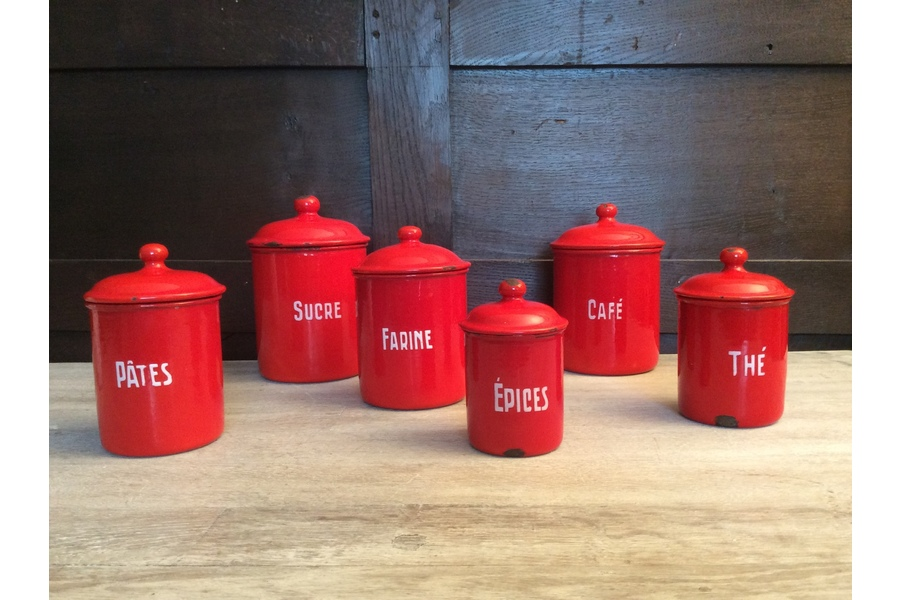 French Enamel Kitchen Containers