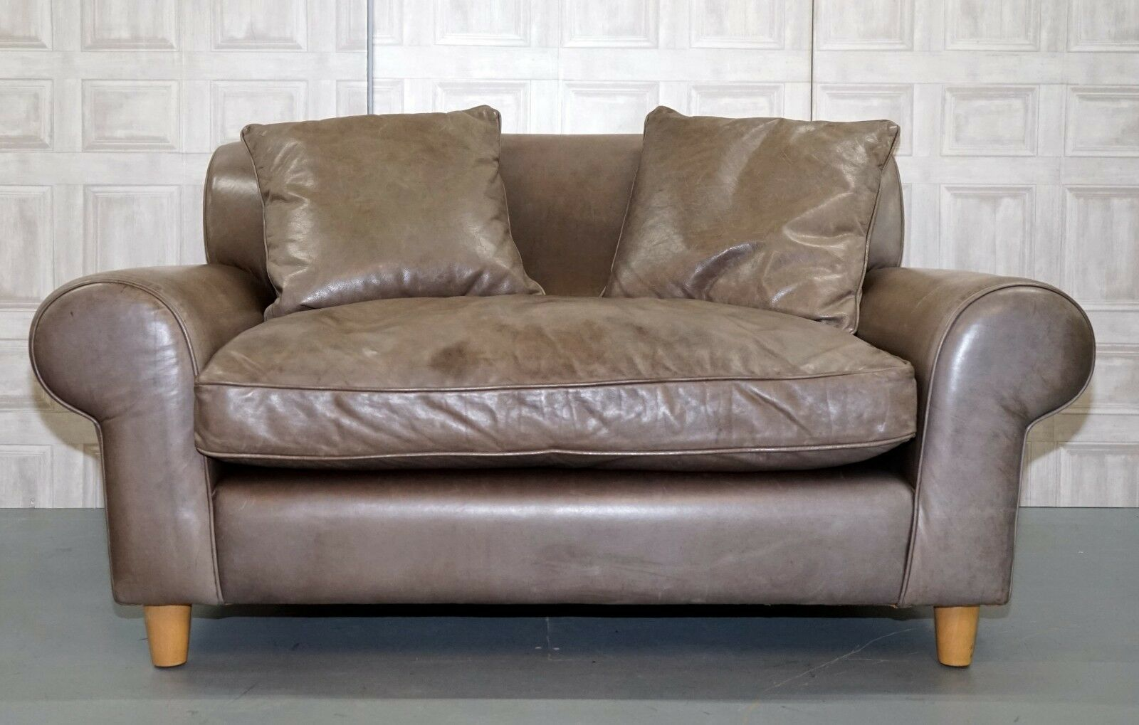 Terence Conran Winslow Leather Love Seat With Feather Filled Cushions Rrp 3 500
