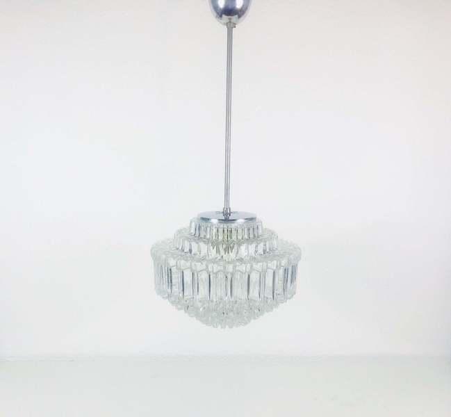 Limburg Mid Century Modern Chandelier Extraordinarry Diamond Shape Ice Glass Pendant Light Germany 1960s