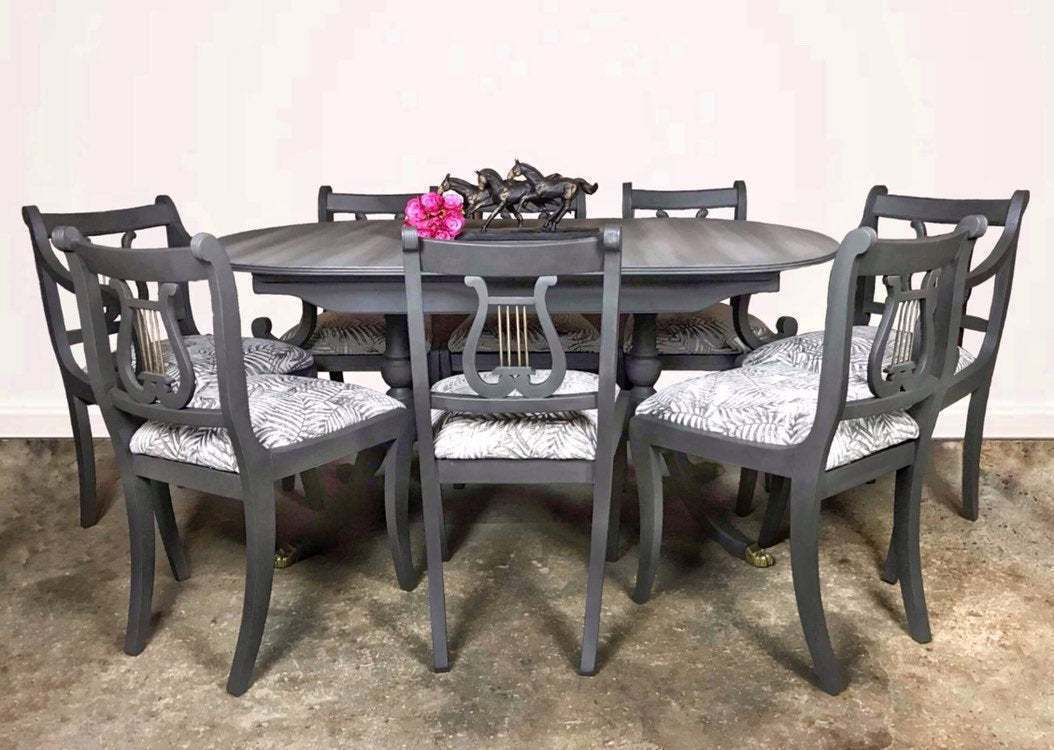 Large Dark Grey Oval Extending Dining Table And Eight Chair Set
