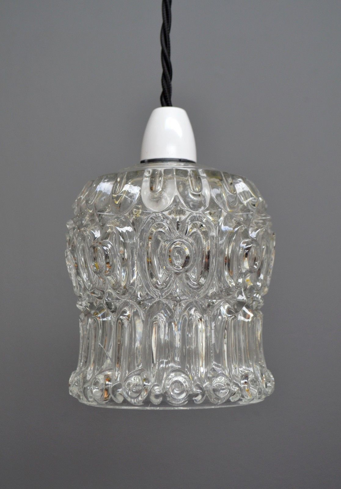 Vintage Mid Century Retro Glass Bell Shape Hanging Pendant Ceiling