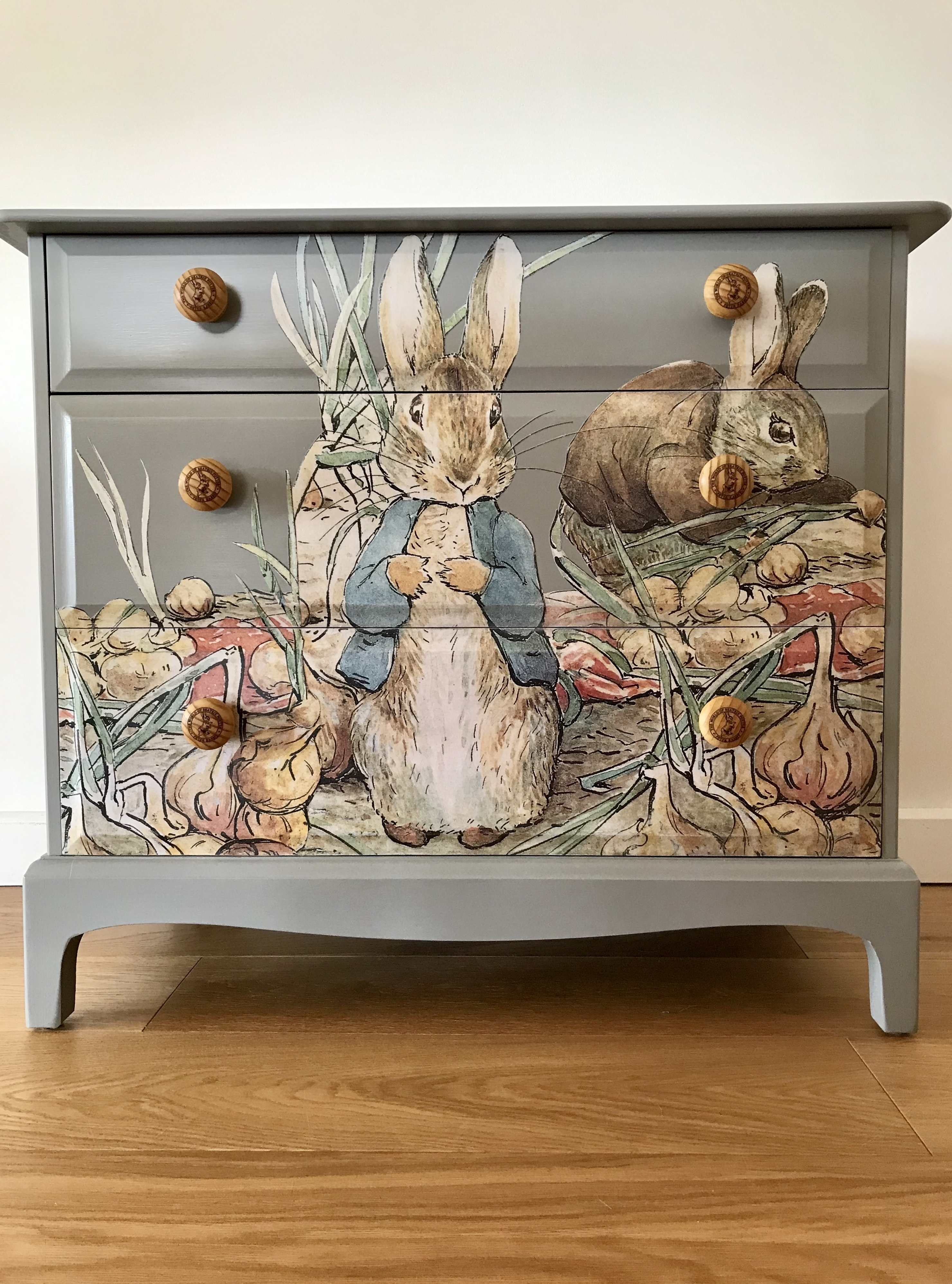 Up Cycled Beatrix Potter Benjamin Bunny \u0026 Peter Rabbit Decoupage Vintage  Stag 3 Drawer Chest