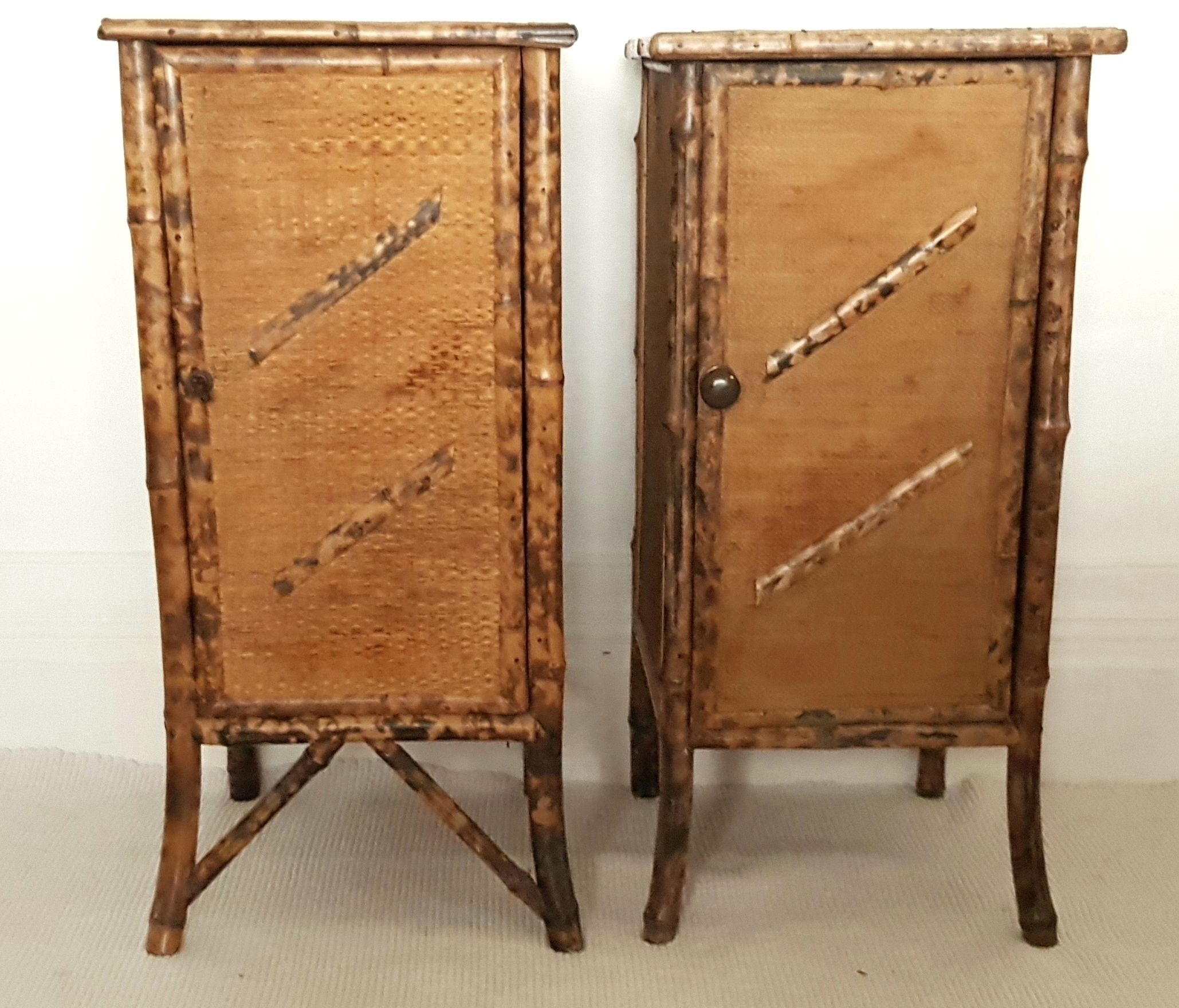 Picture of: A Pair Of Victorian Bamboo Rattan Cabinets Bedside Tables Chinoiserie Antique Table Side Tables Vinterior