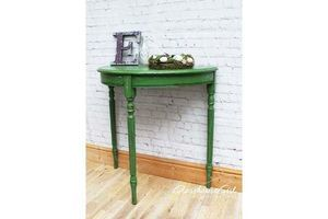 Thumb green french farmhouse distressed demi lune table shabby chic 0