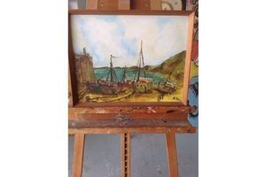 Thumb nieve painting of boats signed by artist 0