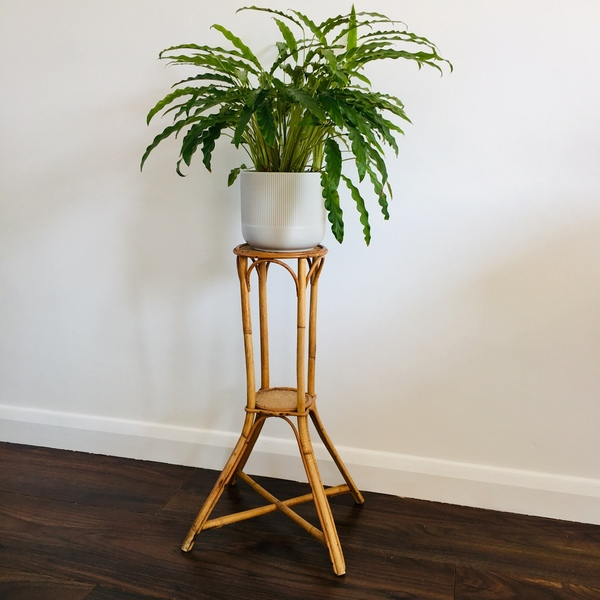 Vintage Bamboo & Rattan Side Table Or Plant Stand, 1980s