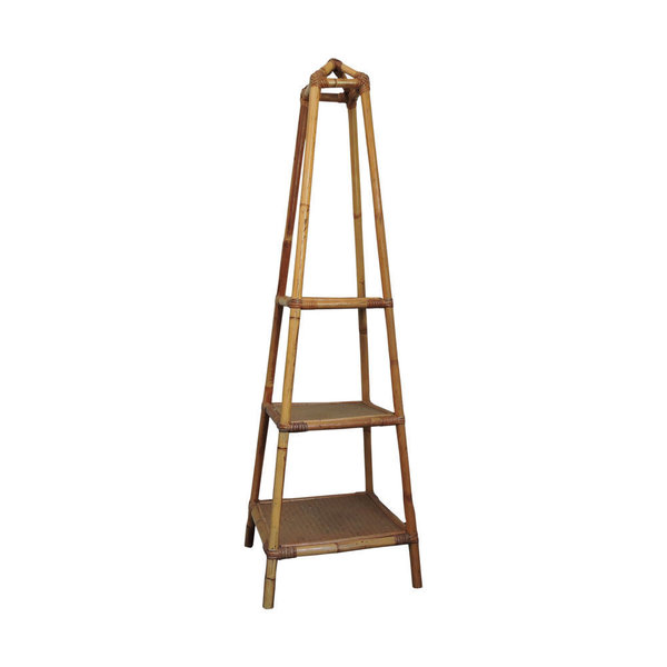 3 Tier Bamboo And Cane Plant Stand, 1970s