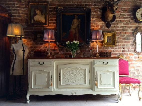 Antique French Style Painted Oak Sideboard Credenza