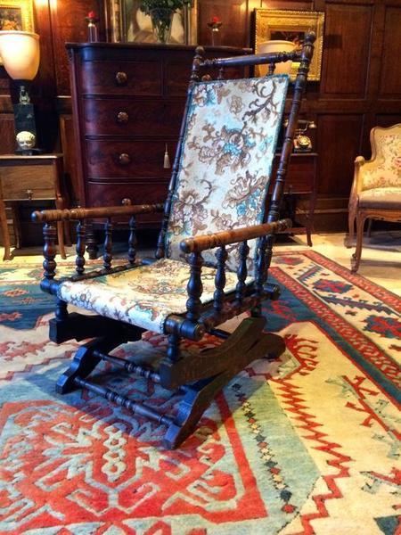 Antique Mahogany American Rocking Chair 19th Century Victorian