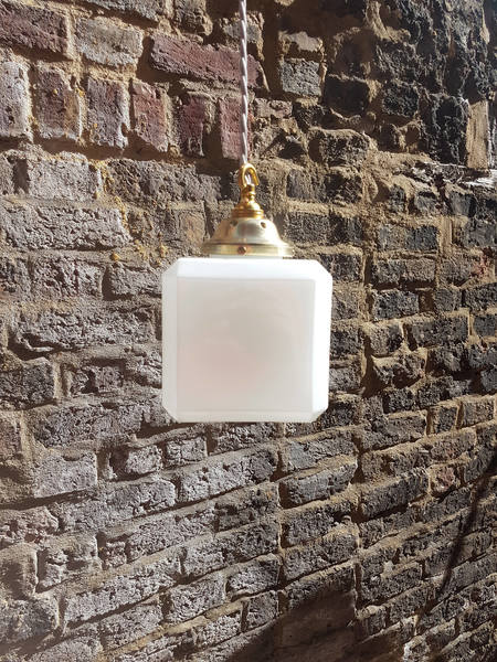 Stunning Art Deco Opaline Glass Cube With Original Gallery: Rewired With  New Bulb Holder