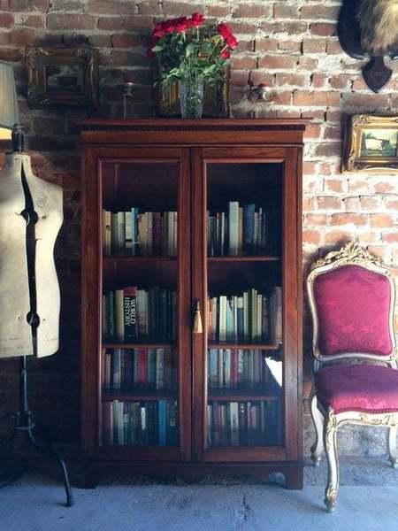 Antique Edwardian Glazed Two Door Mahogany Bookcase Display Cabinet