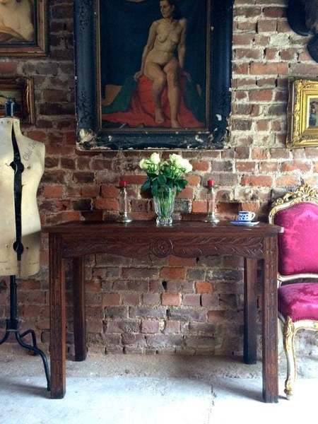Antique 19th Century Carved Oak Hall Table