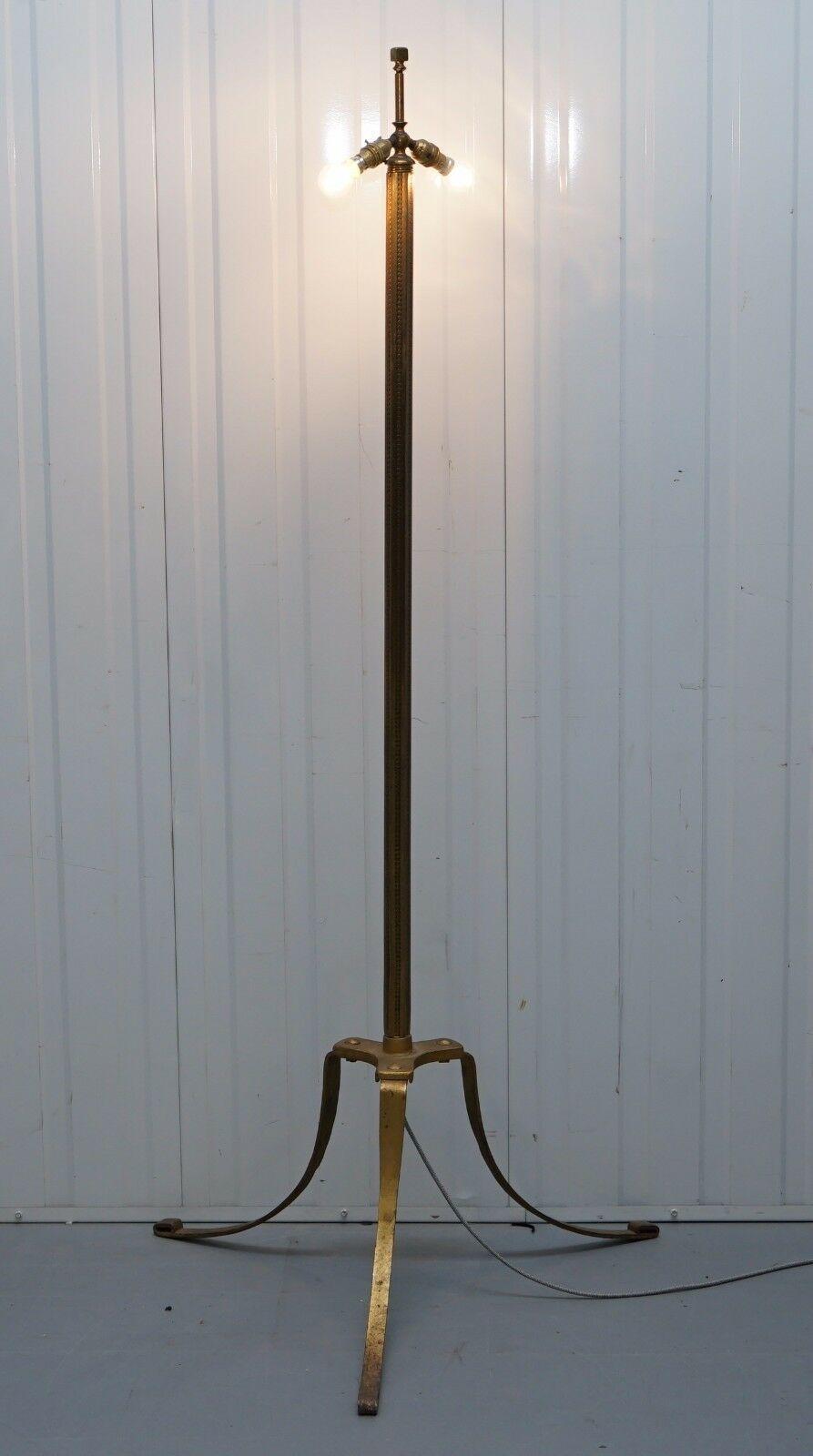 Large Wide Base Brass Three Legged Pillared Victorian ...